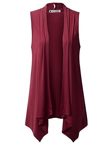 URBANCLEO Womens Draped Open Front Sleeveless Cardigan BURGUNDY LARGE - Draped Sleeveless