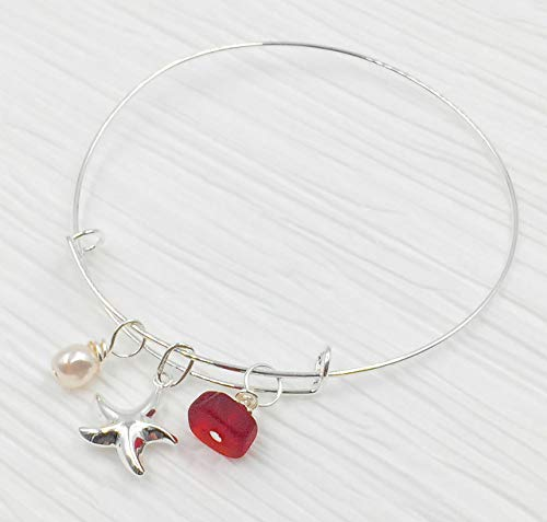 Best Seller Delicate Large Sunset Love RED Beach Bracelet, Adjustable, Sterling Silver, RED Sea Glass Pebble, Swarovski Crystal Pearl and Sterling Silver Filled Starfish Charm Bracelet by Aimee Tresor