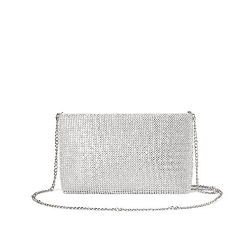 (LOVEVOOK Evening Bag Crossbody Bag Clutch Purse for Party Prom with Sparkly Rhinestones Silver)