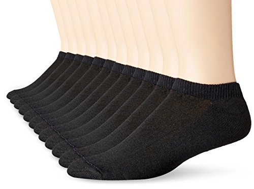 Hanes Men's 12 Pack No Show Socks, Black, 10-13/Shoe Size 6-12 (Sole Sock Double)