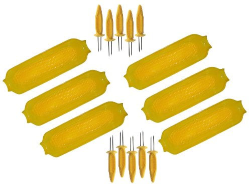 Set of 6 - Large Plastic Corn on the Cob Dish / Plate with Holders / Skewers