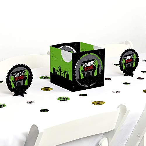 Big Dot of Happiness Zombie Zone - Halloween or Birthday Zombie Crawl Party Centerpiece & Table Decoration Kit -