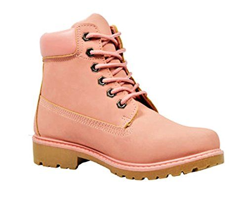 Golden Road Working Boots Lace up Ankle Combat Booties For Women (6,13015 Pink)