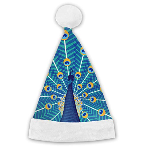Holiday Christmas Halloween Santa Hat Peacock Illustration Festive Holiday Party Hat With White Cuffs For Kids -