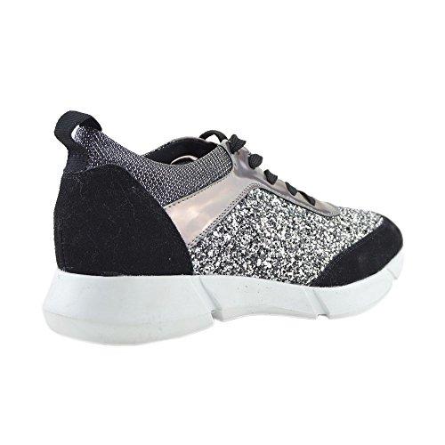 Womens Casual Turnschuhe Sneakers Glitter Sparkly Pumps, Schnürschuhe Schwarz