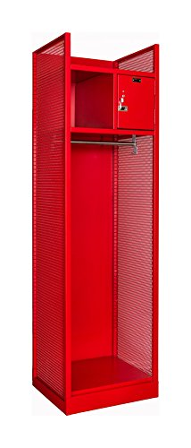 (Hallowell TGBN42(84)-1BC-G-RR-HT Fully-Framed All-Welded Turnout Gear/Firefighter Locker with Base, with Upper Security Box Color, 24.75