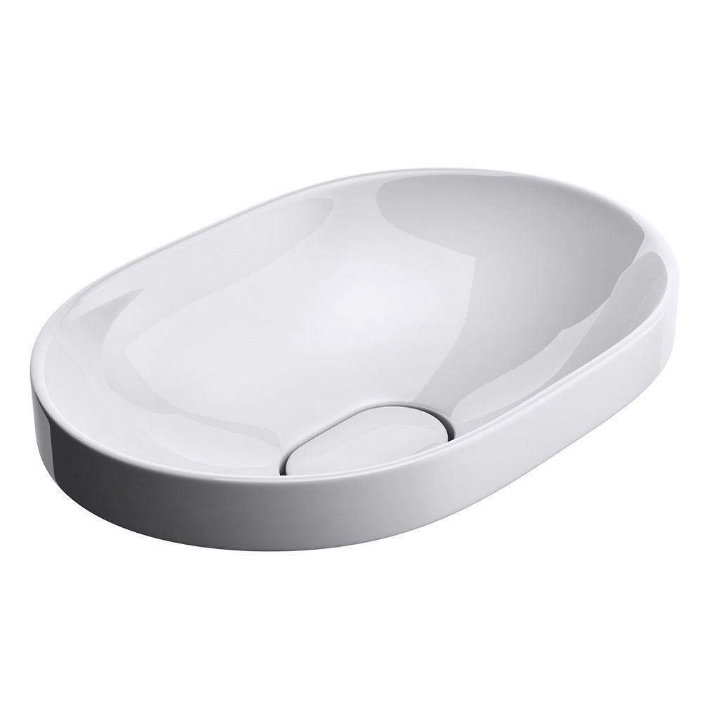 Durovin Bathrooms Ceramic Basin | Self Rimming Drop-in Sink | Semi Recessed | Oval Without Overflow Slot | Concealed Waste | 580 x 400mm (WXD)