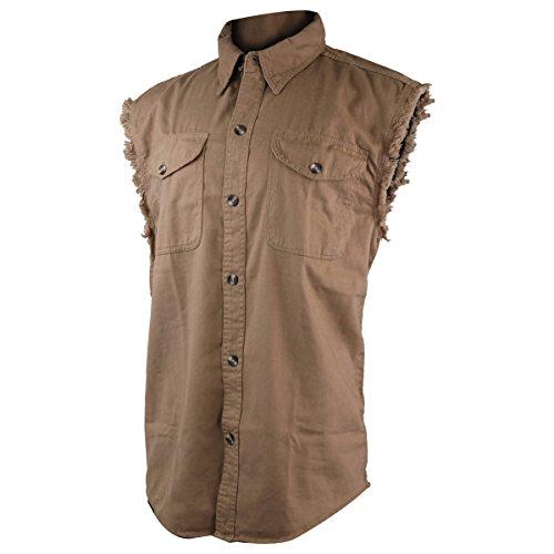 Classic Biker Cutoff Sleeveless Denim Shirts XL (Denim Biker Shirt)