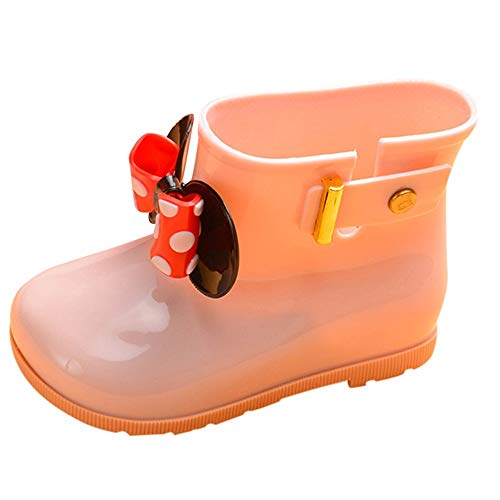 Toddler Baby Girls Boys Kids Rain Shoes for 1-7 Years Old,Child Bowknot Dot Rubber Waterproof Rain Boot Galoshes (12-24 Months, Pink)]()