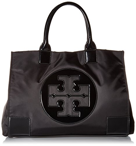 Patent Leather Logo Handbag (Tory Burch Womens Black Nylon Patent Leather Ella Tote BAG)