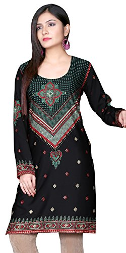 Indian Tunic Top Womens Kurti Printed Blouse India Clothing – Small, L 122