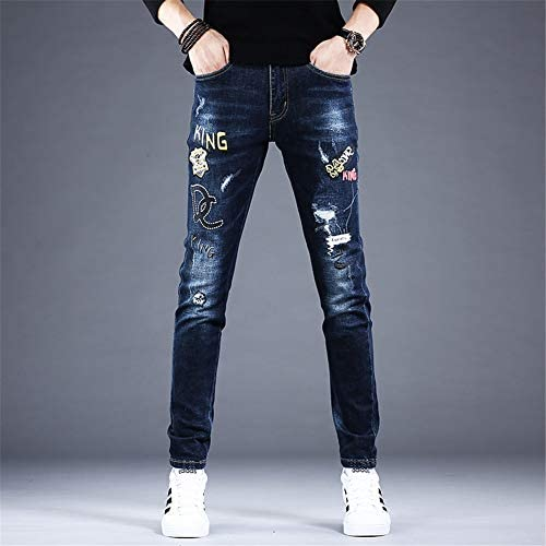 WYX Herren-Stickjeans Herrenmode-Stickerei Trendy Jeans Slim Straight Denim Pants Pencil Trousers,A,30