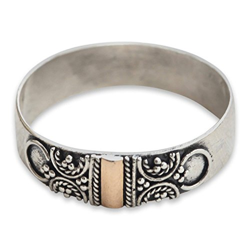 NOVICA .925 Yellow Gold and Sterling Silver Handcrafted Graceful Band Ring, Glad Arabesques'