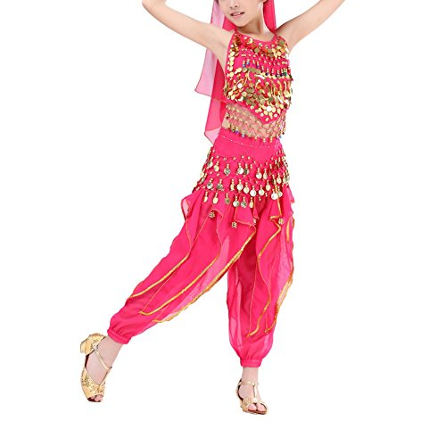 MileMelo Kids Girls Child Belly Dance Costumes India Dance Costoms Halloween Carnival Set Genie Child Costume Halter Top Pants Gold Coins (S, rose red) for $<!--$18.64-->