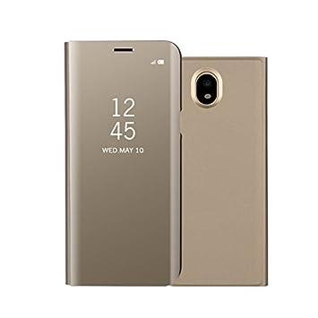 97ada8b1a4f Samsung Galaxy J7 2017 espejo Funda de espejo Flip Case, Espejo Reflexión  Brillante Ultra fino duro Anti-Scratch de para Samsung Galaxy J7 2017(Oro):  ...