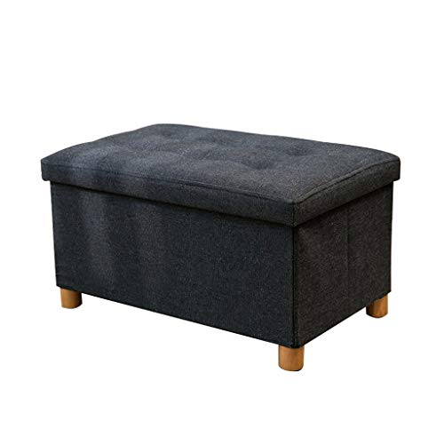YULAN Ottoman Footstool Adult Storage Storage Box Shoes Storage Stool Feet Four Stools Sitting for Simple Silent Fittings Solid Wood Denim 603832cm (Color : Black)