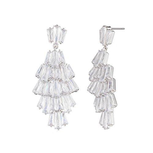 Carolee Women's Blushing Bride Women's Drama Chandelier Drop Earrings, Silver/Crystal