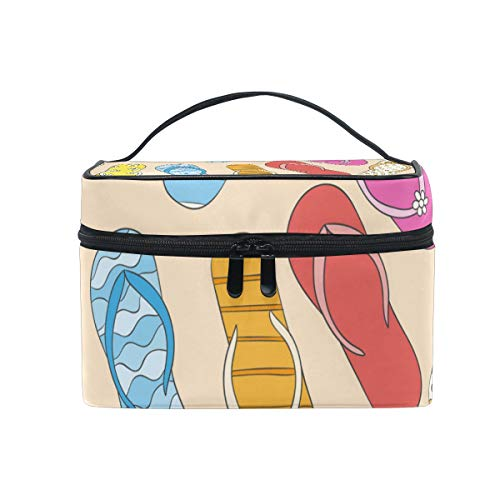 FAJRO Colorful Beach Slippers Pattern cosmetic travel bag Makeup Bag Pouch