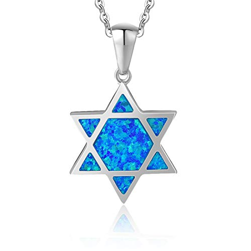 Star Of David Charm Pendant - Fancime Created Opal Star Necklace 925 Sterling Silver Long Chain Charm Blue Pendant Jewelry for Women Girls 16