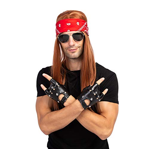 Unique 70s Costume Ideas (Spooktacular Creations Rockstar 90s Heavy Metal Rocker Costume with Wig, Gloves, Sunglasses and Bandanas Halloween Costumes for)