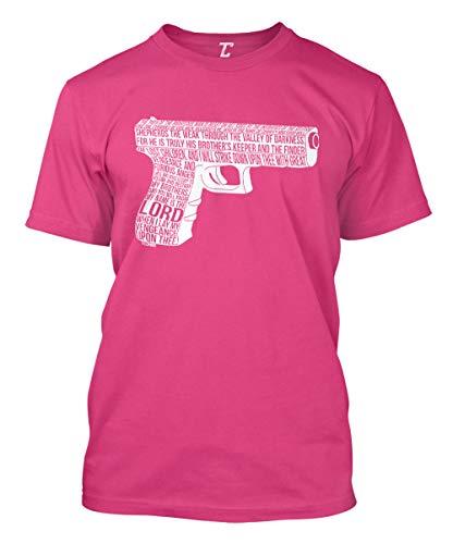 Ezekiel 25:17 Gun - Movie Quote Men's T-Shirt (Pink, Large) (Pink Guns Shirt)