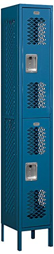 Salsbury Industries 72162BL-U Double Tier 12-Inch Wide 6-Feet High 12-Inch Deep Unassembled Vented Metal Locker, Blue