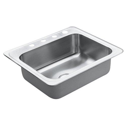 Moen 22869 Excalibur 4 Hole Stainless Steel 22 Gauge Single Bowl Drop In Sink, Stainless - smallkitchenideas.us