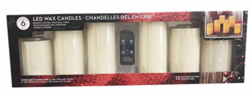 International Wax - Real Wax Flameless Candle Set w/Dual Timer Feature and Remote Control - Duracell Batteries Included - Set of 6