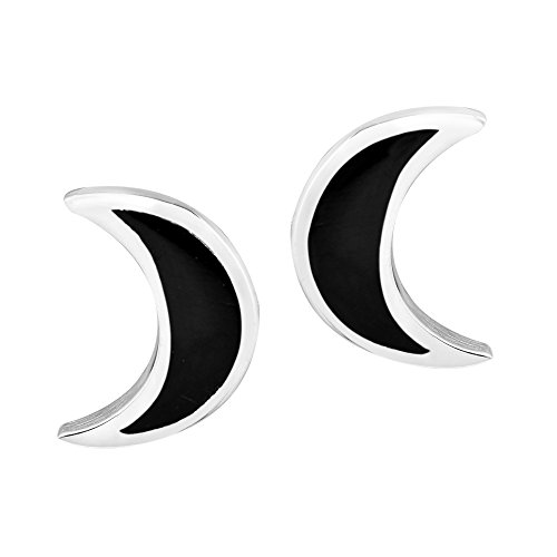Adorable Simulated Black Onyx Inlay Crescent Moon Shaped .925 Sterling Silver Stud Earrings