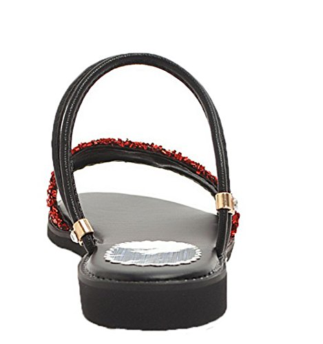 Ouverture Paillette à Talon Rouge Femme à AalarDom d'orteil Sandales Tire Bas Tissu 8OSq0p5xw