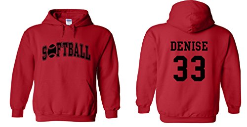 Fair Game Custom Softball Hoodie-Red with Black Print-Adult Small (Softball Sports Sweatshirt)