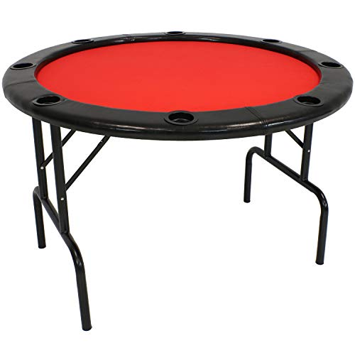 - Sunnydaze Folding Round Poker Table for 6 Players with Cushioned Rail and Built-in Cup Holders, 47-Inch Diameter