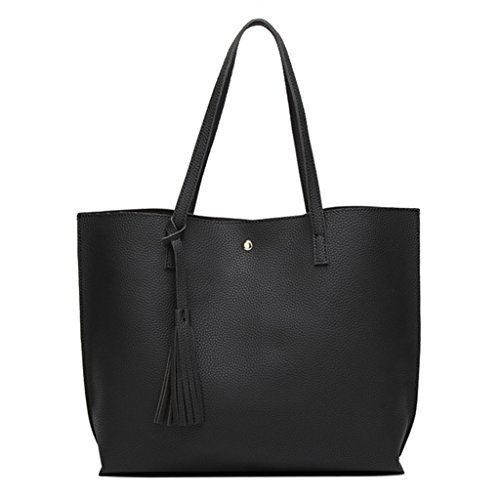 Large ZHOUBA Decor Tassels Leather Designer Bag Ladies Handbag Tote Style Black Capacity Faux Shoulder Grey Satchel oqq1XLr
