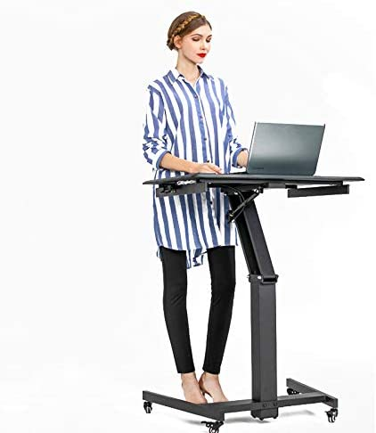 White Excellent Lectern for Classrooms Sit and Stand Mobile CHEUKHAM Advanced Pneumatic Adjustable Height Mobile Laptop Desk Come with Wireless Charging Offices and Home