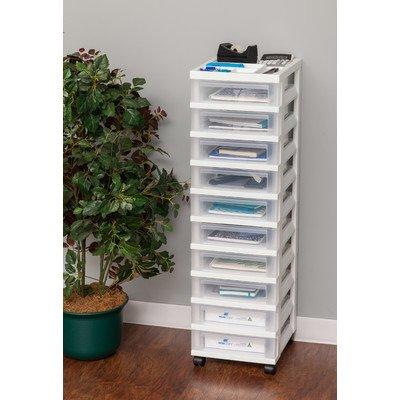 IRIS 10-Drawer Storage Cart with Organizer Top, White