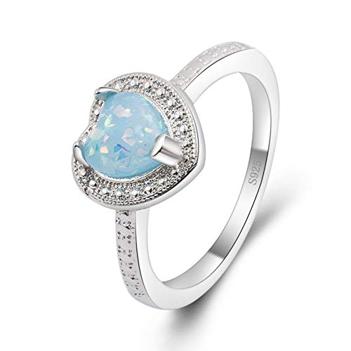 SISIBER Charming Ocean Blue Heart Shape Design Opal Rings for Women 925 Sterling Silver Crystal Engagement Accessories Best,9