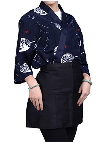 LifeHe Mens Women Sushi Chef Jacket Japanese Kitchen Uniform Sushi Workwear Kimono Cardigan (Navy, L) (Japanese Kimono Wear)
