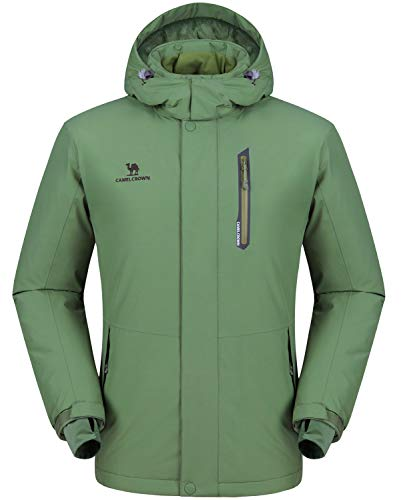 CAMEL CROWN Ski Jacket Men Waterproof Warm Cotton Winter Snow Coat Mountain Snowboard Windbreaker Hooded Raincoat Grass Green XL ()