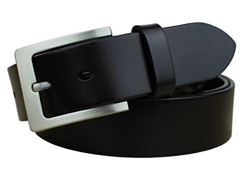 Mens Black Top Grain - Bullko Men's Casual Jean Belt Classic Buckle Top Leather Belts 1.5
