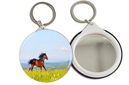 Rikki KnightTM Beautiful Arab Racer Horse Galloping in Field Design 2.25 inch Keychain Button Mirror Key Chain