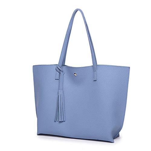 Bag Bags Handbags Fringe Bag Women with Ladies Blue Hobo Tassel Leather Tote Large for vCfBwqdB