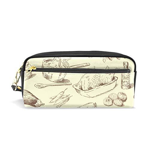 MUOOUM Turkey Sausage Cauliflower Pencil Case for Kids Pen Box Pouch Case Makeup Cosmetic Travel School Bag