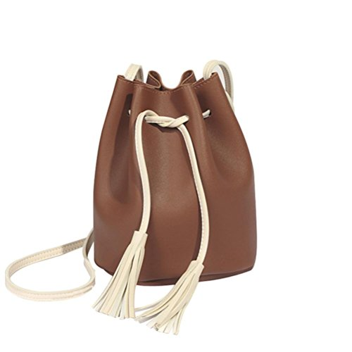 Crossbody Bucket Bag Women Ladies Bag Muium Brown Bag Leather Fashion Pure Capacity Messenger Tassels Shoulder High Color 80YYxwq