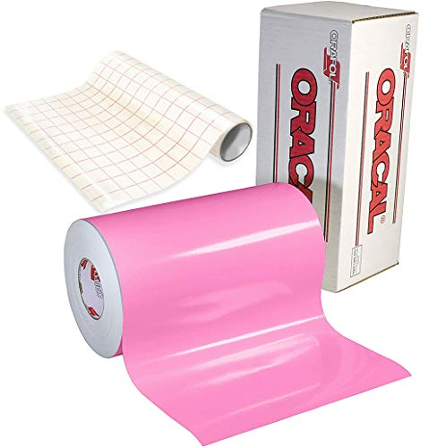 - ORACAL 651 Gloss Soft Pink Adhesive Craft Vinyl for Cameo, Cricut & Silhouette Including Free Roll Of Clear Transfer Paper (6 Feet x 12 Inches)
