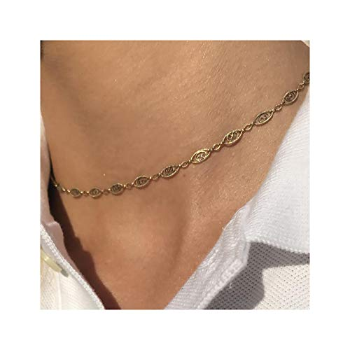 (Gold Plain Chain Oval Charm Choker Necklace,Dainty Handmade Boho 14K Gold Plated Dainty Cute Tiny Oval Link Chain Clavicle Necklace Delicate Fashion Minimalist Choker Necklace Jewelry Gift for Women)