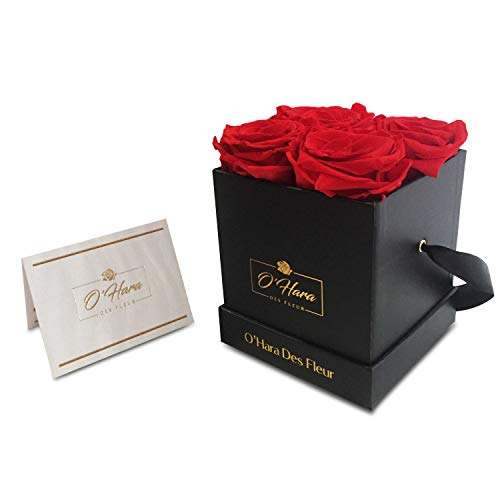 (O'Hara Des Fleur Preserved Rose, Real Flowers, Handmade Flowers in a Box | Natural Fragrance, Color, and Style Up to 1 Year | Best Gift for Her, Birthday, Anniversary, (Red/Black Box))