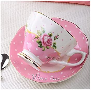 Juego de taza de t/é juego con caja de regalo y bordes dorados cuchara y platillo de porcelana china vintage