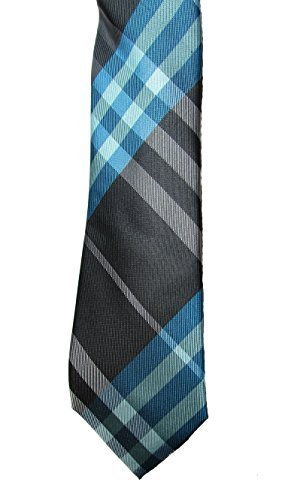 Alfani Men's Skinny Necktie with Clip, Penelope Plaid, Aqua/Grey from Alfani