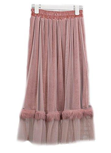 Lapin Couture Jupe A Ligne Femmes Fourrure FOLOBE Tulle Longue Velours Faux Blush Jupe qXzxnFwg8