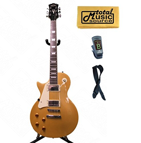 Oscar Schmidt LEFT HAND LP Style Electric Guitar, Solid Body, Gold, OE20GLH